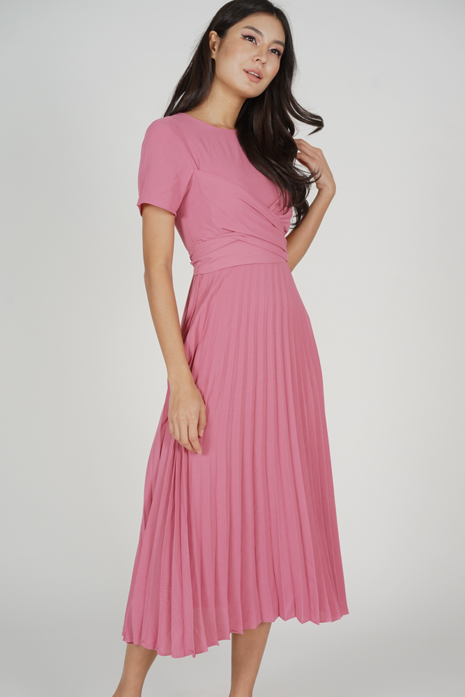 Berni Criss Cross Pleated Dress in Pink