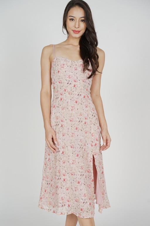 Nunya Slit Dress in Pink Floral