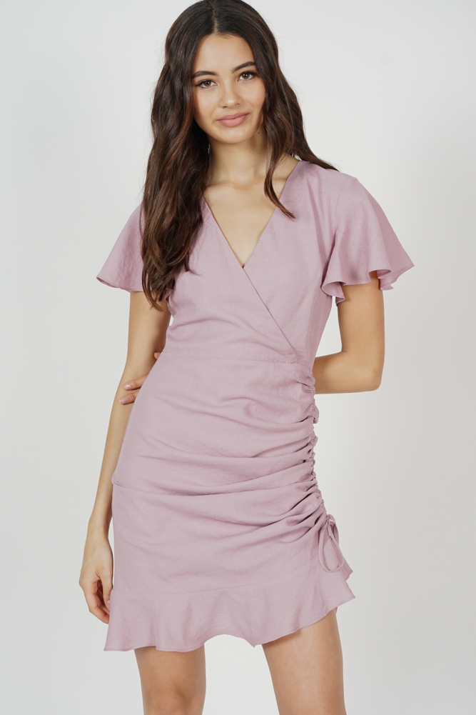 Kalie Side Ruched Dress in Blush