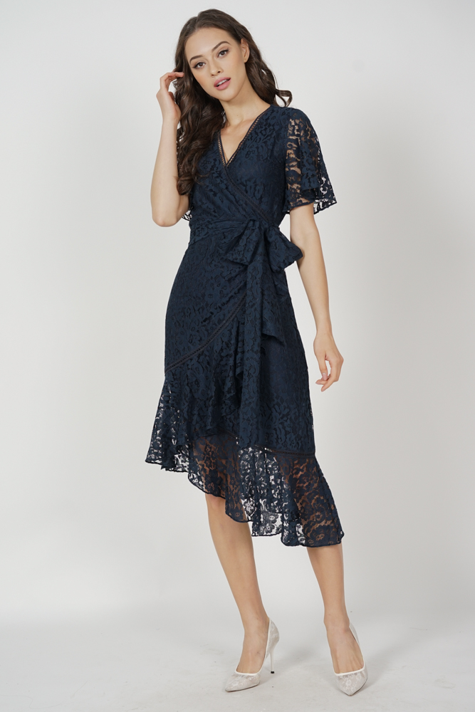 Reika Tie Wrapped Dress in Midnight