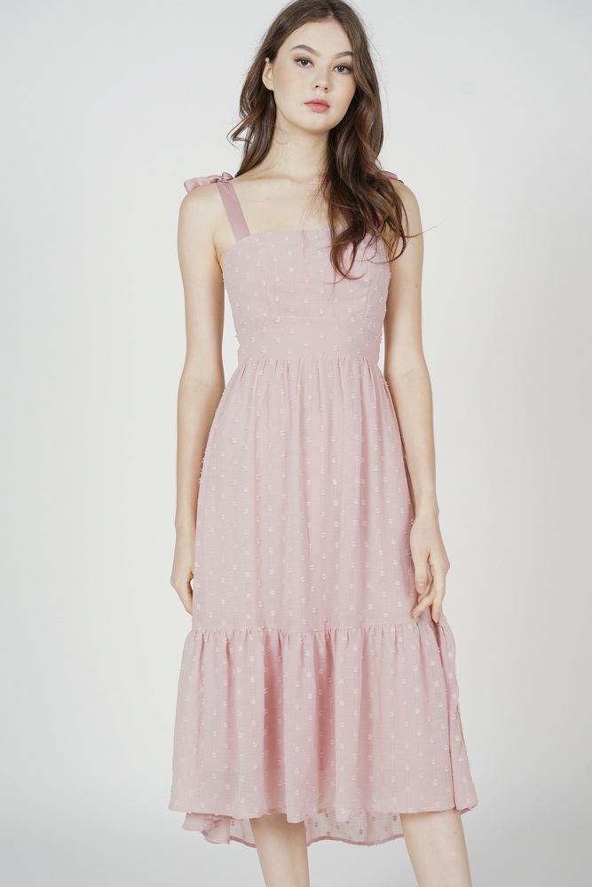 Jugrie Ruffled-Hem Dress in Pink