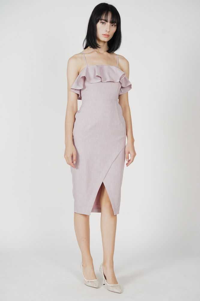 Phylie Overlay Ruffled Dress in Pink