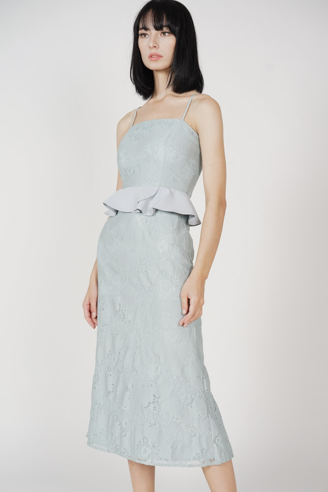 Dawnie Ruffled Dress in Ash Blue