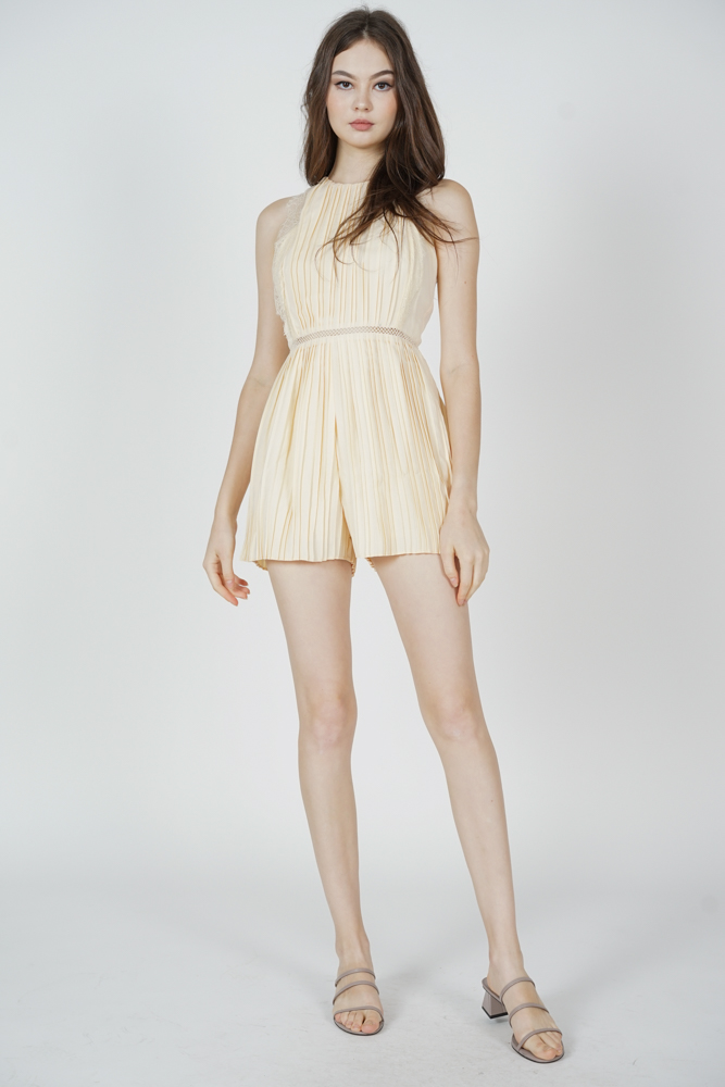 Kaydi Pleated Romper in Cream
