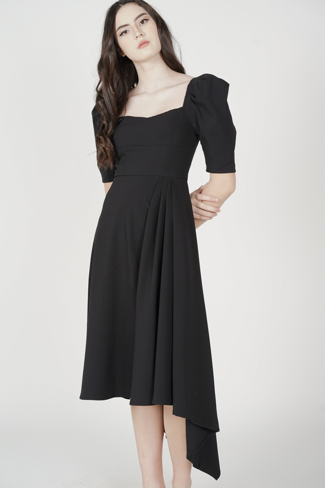 Waldon Drape Dress in Black