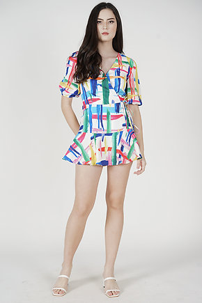 Birem Abstract Skorts Romper in White