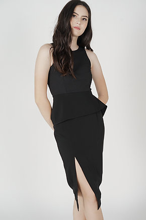 Jolie Contrast Peplum Dress in Black