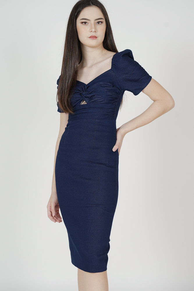 Maxine Denim Dress in Dark Blue