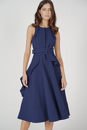 Sindie Ruffled Dress in Navy