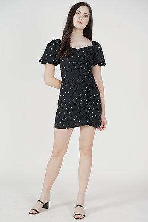 Aron Ruched Dress in Black Polka Dots