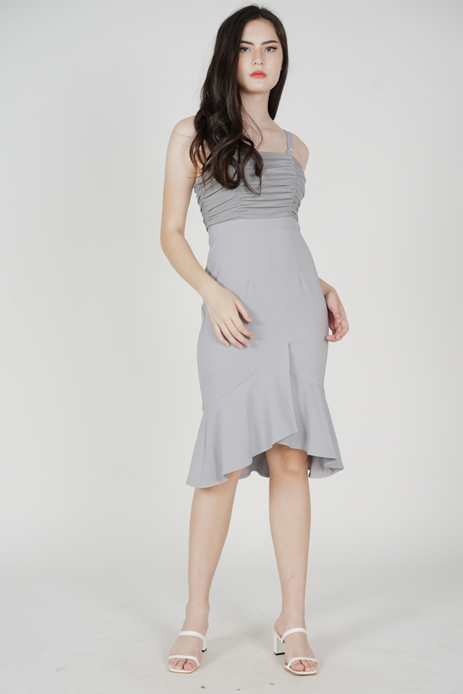 Erick Ruched Dress in Grey