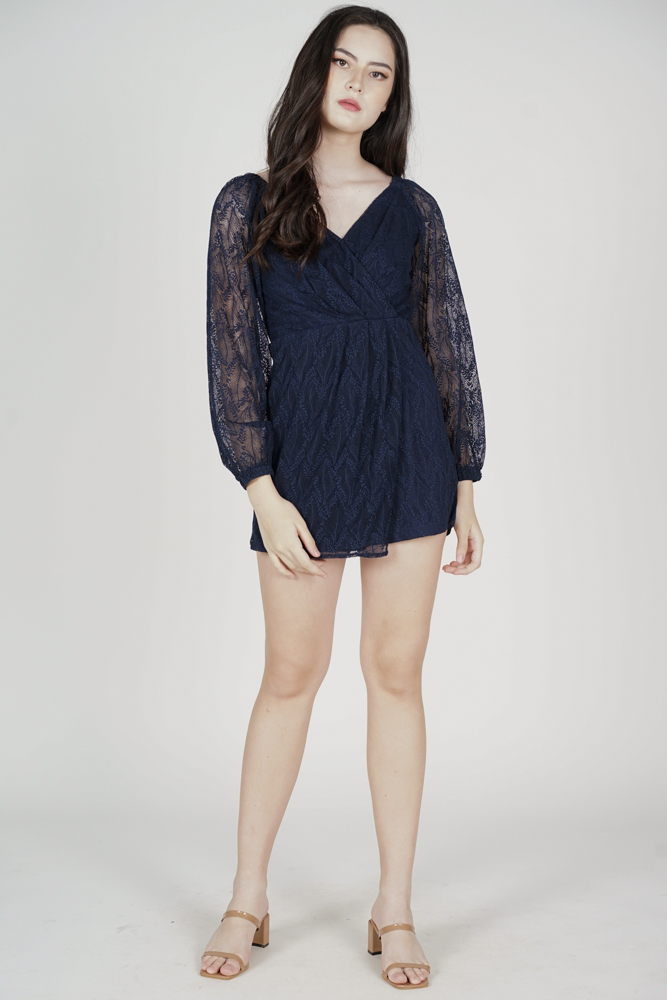 Wilfa Lace Romper in Midnight