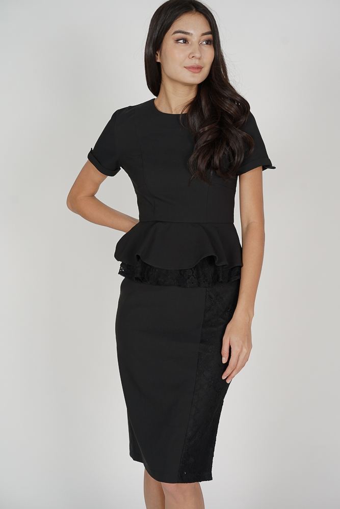 Leanor Peplum Dress in Black