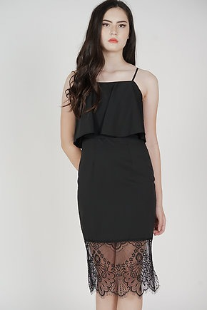 Lara Overlay Dress in Black