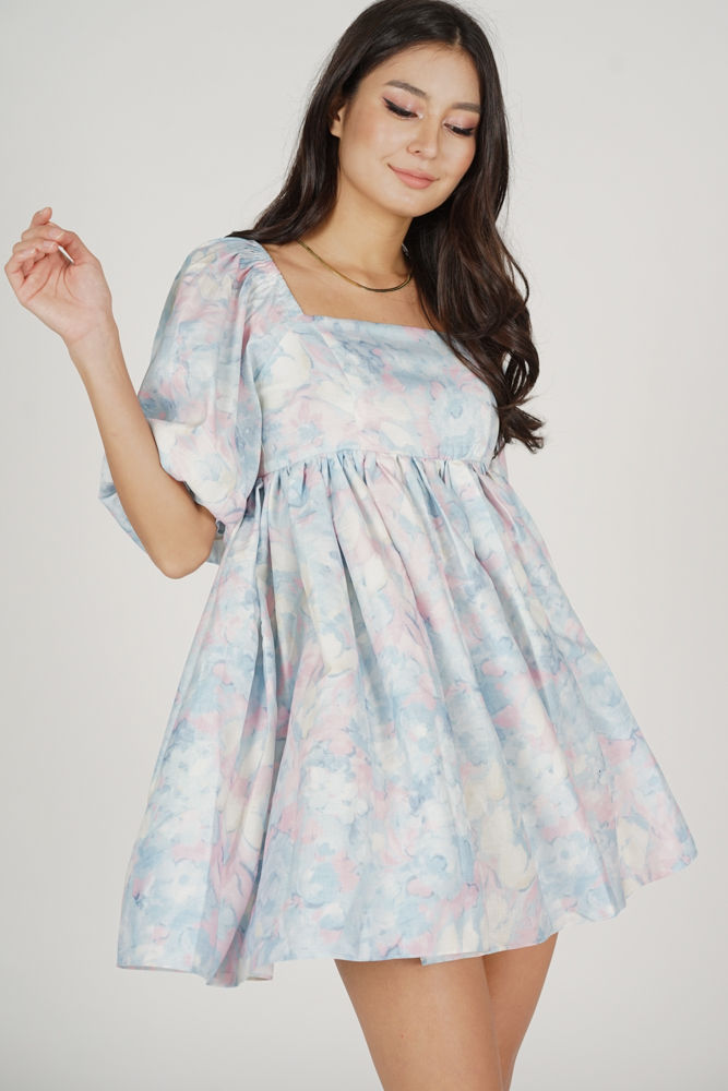 Sannie Gathered Dress in Pastel Abstract