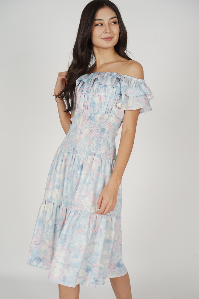 Taki Smocked Dress in Pastel Abstract