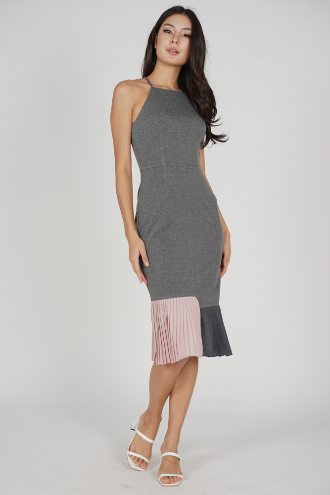 Dilara Pleated-Hem Dress in Grey