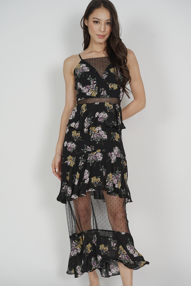 Bowie Ruffled Dress in Black