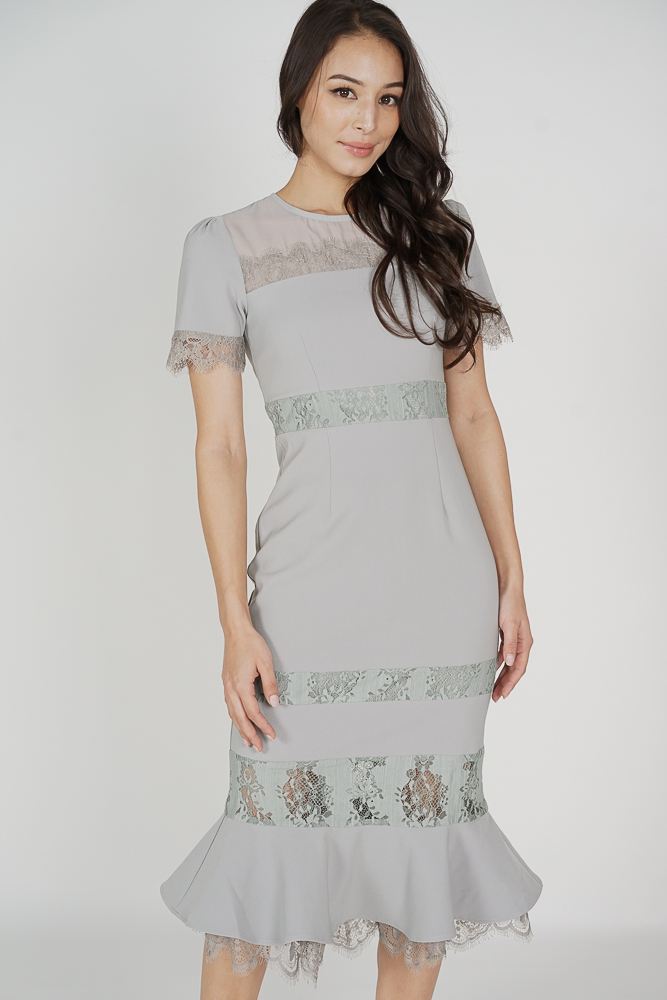 Beckyn Lace-Trimmed Dress in Ash Blue