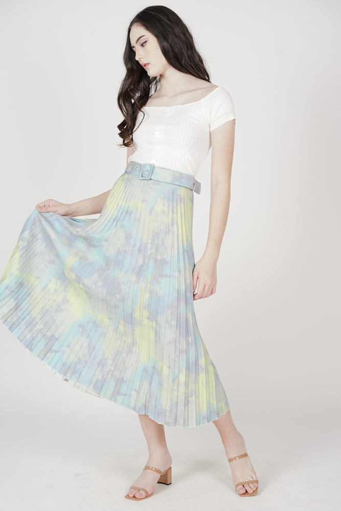 Cairis Pleated Skirt in Green Blue