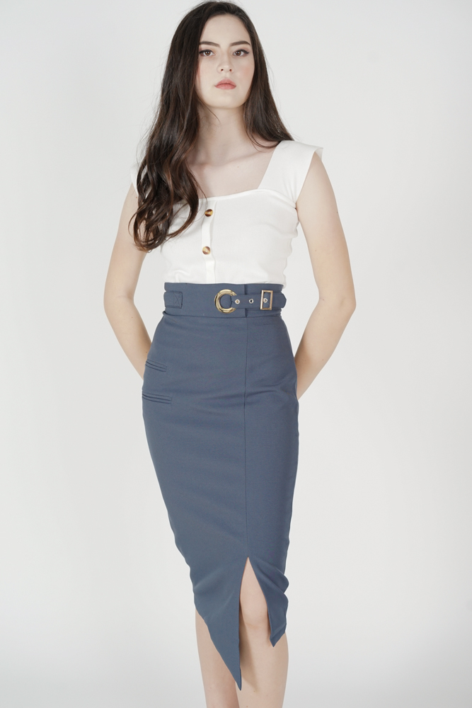 Jayre Buckled Skirt in Dusty Blue