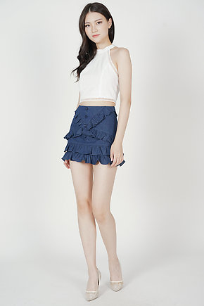 Glydis Ruffled Mini Skorts in Navy