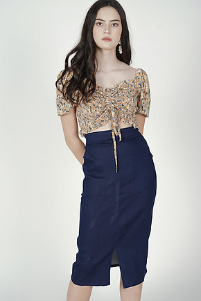 Treza Midi Skirt in Dark Denim