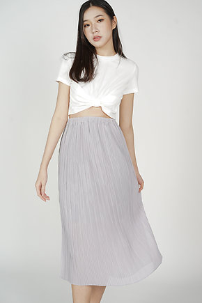 Randall Pleated Skirt in Dusty Blue
