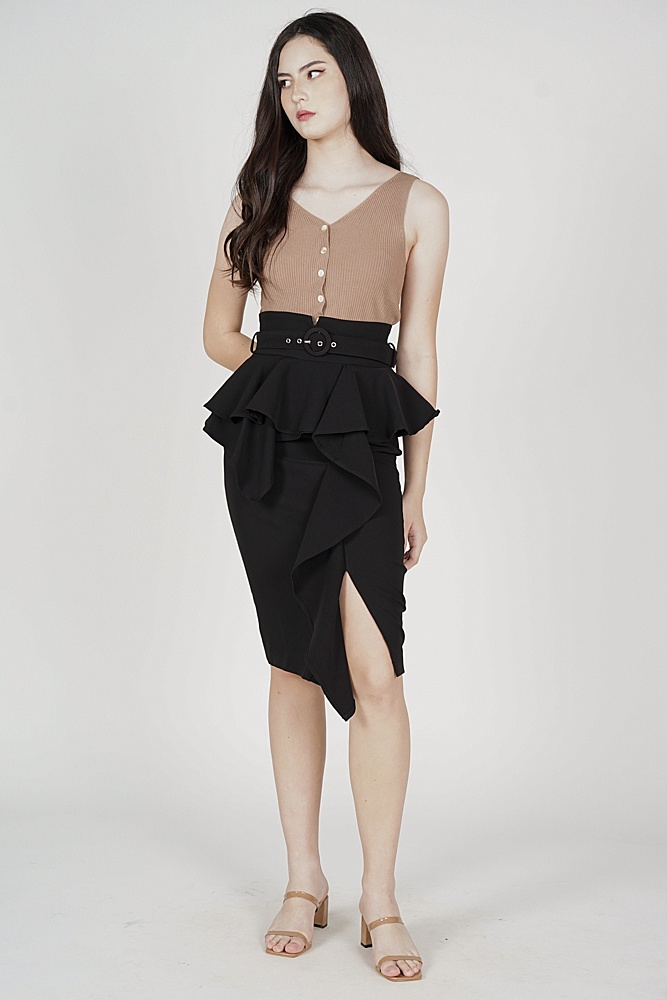 Edan Peplum Skirt in Black
