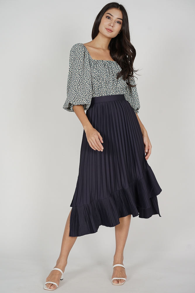Holden Asymmetrical Pleated Skirt in Midnight