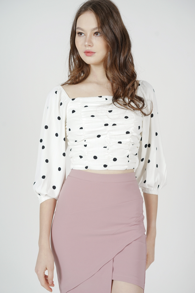 Zyra Ruched Top in White Polka Dots