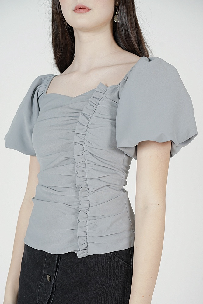 Liza Gathered Puffy Top in Ash Blue